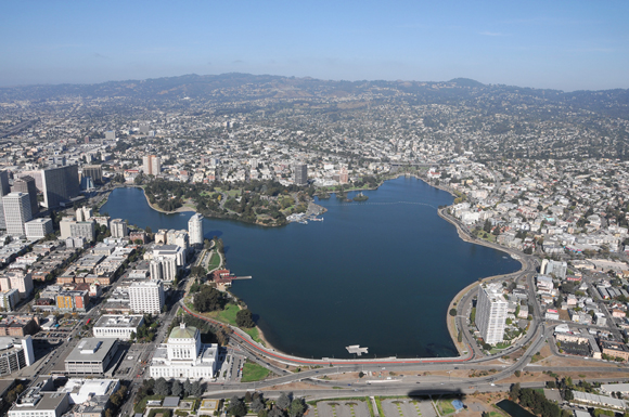 Aerial view of Lake Merritt, 2010. Photo by Bernard Zee.